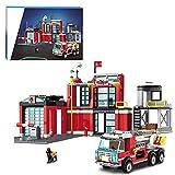 CALEN City Feuerwehr Station Baukasten mit Feuerwehr Garage und Feuerwehrauto, kompatibel mit Lego 60215