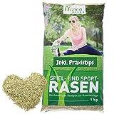 Premium Rasensamen schnellkeimend 1kg = 30-40m² Rasen   dürreresistent, robust, tiefgrün   Ideal für Neuansaat und Nachsaat   Rasensaat Grassamen Sport und Spiel