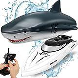 OBEST Ferngesteuertes Boot Hai, RC Shark Boot Spielzeug 2 in 1, 2.4GHz RC Elektro Boot, Kinder Electric Shark Spielzeug für Pools und Seen, Sommer Spielzeug Geschenk für Pool Lake Pond