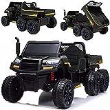 Elektrisches XXL Kinderauto Elektroauto Kipper Traktor Farm-Truck A730-2, 4x45W, 2x12V Akku, Ledersitz, Fernbedienung (SCHWARZ)