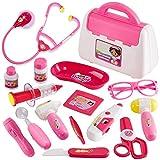 Buyger Rollenspiel Spielzeug Arztkoffer Doktorkoffer Kinder Spielzeug ab 3 Jahre für Mädchen Junge Geschenke(Rosa)