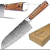 Shoko® Damastmesser Santoku I Persönliche Gravur möglich I Japanisches Kochmesser mit scharfer 2mm Klinge I Damast-Küchenmesser mit patentiertem Olivenholz-Griff für ermüdungsfreies Schneiden