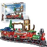 Bulokeliner Elektrozug-Bausteinmodell, Ferngesteuertes Zugmodell Im Weihnachtsstil, Mit Bahngleisen und Bahnhofskinderspielzeug Kompatibel Mit Lego
