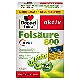 Doppelherz Folsäure 800 DEPOT – Mit Vitamin C, B6 und B12 zur Unterstützung der normalen Funktion des Immunsystems – 1 x 60 Tabletten