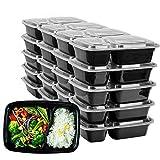 HENSHOW 2 Fach Meal Prep Container mit 20er, 1000ML Prämie Wiederverwendbar BPA Free Lunchbox mit Deckel, Mikrowelle, Gefrierschrank, Spülmaschinenfest