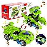 Dinosaurier Transformers Auto, Dinosaurierauto Spielzeug, Transforming Licht und Musik, Geschenke Junge Dinosaurier Spielzeug ab 3-10 Jahren Junge, Transforming Dinos Car