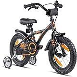 Prometheus Kinderfahrrad 14 Zoll Jungen mit Stützräder ab 3-4 Jahre Mädchen Rücktritt 14zoll BMX Modell 2022 in Schwarz Matt Orange