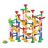 Yissvic Kugelbahn 133pcs Mehrfarbige Murmelbahn mit Bahnelementen und Glasmurmeln pädagogisch wertvoller Spaß für Kinder ab 3 Jahre