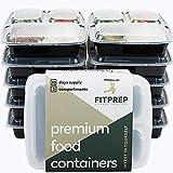 FITPREP® - DAS ORIGINAL - 3-Fach Meal Prep Boxen - 10er Pack - für Meal Prep empfohlen- inkl. schönem Rezeptheft