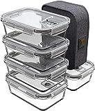 GENICOOK Lunchbox Bento Brotdose mit Lunchtasche/Frischhaltedosen Glas perfekt für Meal Prep - BPA frei und LFGB-zugelassen für Home Küche oder den Gebrauch unterwegs(5 * 840ml)