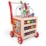Lauflernwagen Baby Holz Lauflernhilfe-Laufwagen Gehhilfe Laufhilfe Baby Spielzeug ab 12 Monate,Baby Walker Babyspielzeug ab 1 Jahr,Gehhilfe Holz Lernspielzeug Holzspielzeug ab 1 Jahren Mädchen Junge