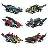 Lekebaby Dino Auto Dinosaurier Spielzeug 6er Pack Dinosaurier Ziehen Auto Große Geschenke für Kinder