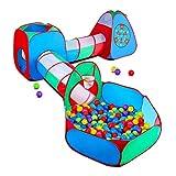 STLOVe Spielzelt Kinderzelt Angepasst Babyzelt mit krabbeltunnel(Ohne Bälle) 5-Teiliges Bällebad Spielhaus Tunnel mit Zelt Tasche│Verdickter Stoff + Fettgedruckter Draht│8 Bälle+4 Dart+6 Bodennagel