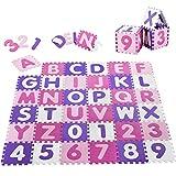 Juskys Kinder Puzzlematte Juna 36 Teile mit Buchstaben A-Z & Zahlen 0-9 - rutschfest – rosa für Mädchen - Puzzle ab 10 Monate - Spielmatte