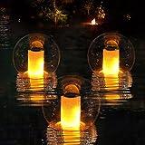 Flammenlampen Solar Schwimmende Pool Licht, Flackernde Teichlicht Solar Flammen Licht IP68 Wasserdichtes Garten Licht Ball, Automatische Ein/Aus Whirlpool Licht Solar für Hof, Balkon, Weg-1 Stück