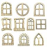 10PCS Beliebteste Wichteltür, Feentür, Mäusetür, Spielhaus Dekoration Tür Bastelset 3D-Deko Elfentür Wichteltür DIY Miniatur Home Fenster und Tür für Bäume Yard Garden Patio Decor (Multi)