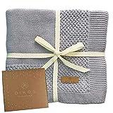 Babydecke Baumwolle grau | 100% GOTs BIO Neugeborenen Decke | atmungsaktive Baby Strickdecke mit Bordüre Mädchen/Junge | nachhaltige Kuscheldecke Baumwolldecke | Geschenk zur Geburt Babyparty