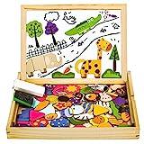 yoptote Magnettafel Kinder Lernspiele Puzzle Magnetspiel Montessori Spielzeug Holzpuzzle für Mädchen Jungs ab 3 4 5 6 Jahre, 123 Stück