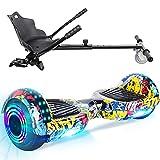 TOEU Hoverboard, 6.5' Self Balance Scooter, Elektro Skateboard Bluetooth-Lautsprecher LED-Leuchten, Geschenk für Kinder Jugendliche Erwachsene