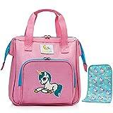 HappyVk- Rosa Puppen Wickeltasche mit Wickelunterlage- Puppenzubehör, süße Einhorn Stickerei- sowie EIN reversibles Paillettenarmband