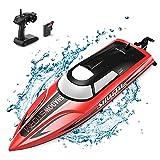 tech rc Boot Ferngesteuertes Boot LED Nacht 25km/h High Speed Rennboot Autopilot-Modus Nie-Kentern Geschwindigkeit-Einstellbar Speedboot 1200MAH Akku 2,4GHz Fernsteuerung für Erwaschene Kinder ab 14