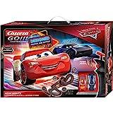 Carrera 20062477 GO!!! Disney Pixar Cars Neon Lights Rennstrecken-Set | 5,3m elektrische Carrerabahn mit Lightning McQueen & Jackson Storm | mit 2 Handreglern & Streckenteilen | Ab 6 Jahren