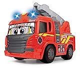 Dickie Toys 203814016 Happy Fire Engine, Scania, Feuerwehrauto mit Licht & Sound, motorisiert, fährt vorwärts und rückwärts, drehende Leiter, inkl. Batterien, für Kinder ab 2 Jahren, 25 cm