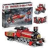 Eisenbahn Bausatz Spielezug 3 in 1 Bausteine Dampfzug Motorrad und Traktor,Spielzeug für Kinder ab 5 Jahre