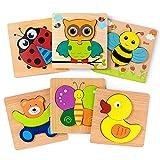 KOLADEK HolzPuzzles – Steckpuzzle 6-Teilig in Bunt, Holzspielzeug ab 1 2 3 4 Jahr Mädchen Junge (6PCS)