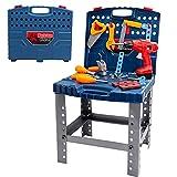 Werkbank Werkzeugkoffer Kinder-Kinder Werkzeugkasten Werkzeugbank Kinderspielzeug Spielzeug ab 3 4 5 Jahre Jungen, Werkzeug Kinder Bohrmaschine Werkzeugkoffer Kinderwerkzeug Geschenk 3 4 5 Jahre Junge