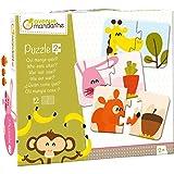 Avenue Mandarine JE519C - Puzzles Set, mit 12 Puzzles 2-teilig, praktisch, spielerisch und farbenfroh, ideal für Kinder ab 2 Jahren, 1 Set, Essen