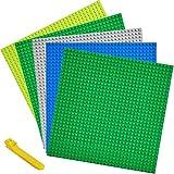 WYSWYG Steine Platten-Set Bauplatte 25*25cm , 5 Stücke, Bausteine Grundplatte + Werkzeug zum Entfernen, Klassisch Quadrat Doppel- und einseitig Flache Grundplatte Aktivitätstabelle, 5 Pack Platte