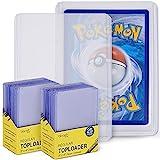 blaash® Toploader Set | 2 x 25 Schutzhüllen | 3'x4' | Doppelter Schutz für alle gängigen Spiel- und Sammelkarten wie Pokémon, YuGiOh, MTG, Match Attax | Extra Klar Kartenschutz