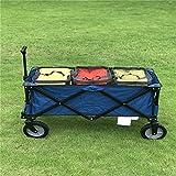 QuRRong Bollerwagen Tragbarer Klapp-Vierrad-Strand-Hand-Anhänger im Freien Campingwagen mit Wasserdicht mit Abdeckung Picknick Camping Auto für Garden Beach (Farbe : Blau, Size : One Szie)