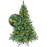 Excellent Trees Künstlicher Weihnachtsbaum Tannenbaum Christbaum Grün LED Stavanger Green 180 cm mit Beleuchtung, 350 Lämpchen Beleuchtet, Luxe Kuenstlicher Christbaum