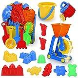 JoinJoy Sandspielzeug Sandkasten Spielzeug Set Für Kinder 19 Stück Strandspielzeug Set in wiederverwendbarer Netzbeutel badewannenspielzeug Jungen Mädchen Sommer