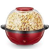 Cozeemax Popcornmaschine, 2 in 1 Popcorn Maker, 24 Tassen, 850W elektrisches Rühren mit Quick-Heat-Technologie, Abnehmbares Heizfläche Antihaftbeschichtung und große Deckel, Spülmaschinenfest, 5 Liter