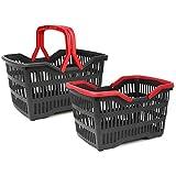 com-four® 2X Einkaufskorb Kunststoff mit Henkel - Tragekorb zum Transport - Stabiler Plastikkorb in schwarz/rot - 39,5 x 29 x 22,5 cm (002 Stück - schwarz/rot)