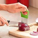 Food Slice Assistant Slicer, Zwiebel Schneider, Zwiebelhalter aus Edelstahl,Gemüse Frucht Rindfleisch Zwiebel Schneidmaschine, Küchenutensilien Safe Fork Schneidehilfe (Grün)