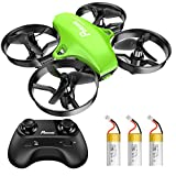 Potensic Mini Drohne für Kinder und Anfänger mit 3 Akkus, RC Quadrocopter, Mini Drone mit Höhenhaltemodus, Start / Landung mit einem Knopfdruck, Kopflos Modus, Spielzeug Drohne Helikopter A20 Grün
