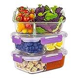 Home Planet® Meal Prep Boxen Glas Doppelfach | 1050ml 3er Set | Keine Kunststoffverpackung | Verbesserter Deckel | Bento Box Meal Prep Boxen | Lunchbox Glas