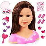 Bayer Design 90088AK Charlene Super Model Styling Head, Schminkkopf, Frisierkopf inklusive Kosmetik und Zubehör, braune Haare, Brunette