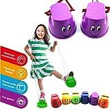 WLPTION 2 Paar Funny Plastic Walk Stelzen Jump Toy Nette Kinder Outdoor Fun Sport Balance Training Spielzeug (zufällige Farbe)