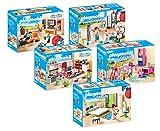 PLAYMOBIL® City Life 5er Set 9267 9268 9269 9270 9271 Wohnzimmer + Badezimmer + Große Familienküche + Fröhliches Kinderzimmer + Schlafzimmer