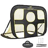 PodiuMax klappbares 2 in 1 Pop-Up Fußballtor für Kinder im Garten | Torwandtrainer für Indoor / Outdoor | Fußballtor Trainer mit Tragetasche