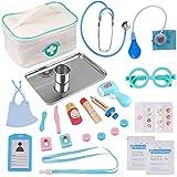 EFO SHM Arztkoffer Kinder Holz Arzttasche Doktorkoffer Spielzeug, Echt Stethoskop, Thermometer, Doktor Spielset Rollenspiel Kit Geschenke für Kinder ab 3 Jahren