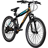 Jugendfahrrad 24 Zoll Mountainbike Fahrrad 24' Geroni Magnum Hardtai MTB Jugend (schwarz/orange/blau, 36 cm)