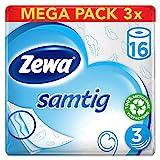 Zewa samtig Toilettenpapier, extra sanftes WC-Papier 3-lagig mit innovativer Kombilagen-Qualität, 1 x Vorratspack mit 48 Rollen (3 x 16 Rollen)