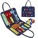 Esjay Busy Board für Kleinkinder, Montessori Spielzeug, Baby Pädagogisches Sensorik Spielzeug mit Verschlüsse, Motorikbrett, Activity Board für Auto Flugzeug Reisen(Blau)