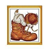 Hund und Schuhe Kreuzstich Kit Tier Gezählt 18ct 14ct 11ct Stempel gedruckt Baumwollstickerei DIY Handgefertigte Hand Craft plus Handgemachte Kreuzstich